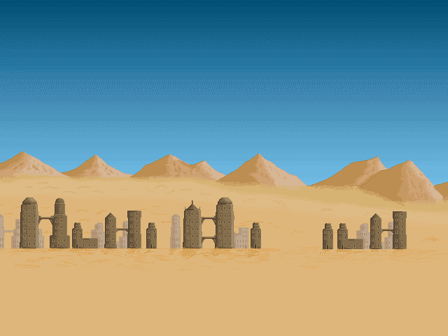 Ancient city in the desert background